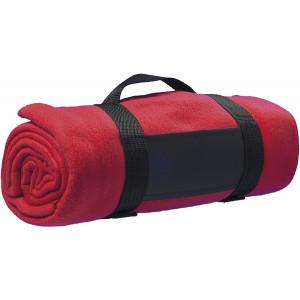 BARA fleecová deka, nylonový popruh, červená
