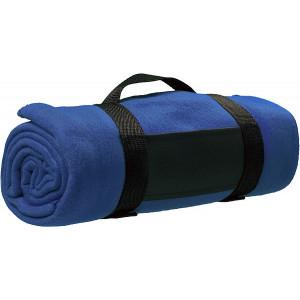 BARA fleecová deka, nylonový popruh, modrá
