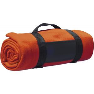 BARA fleecová deka, nylonový popruh, oranžová
