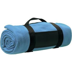BARA fleecová deka, nylonový popruh, svetlo modrá