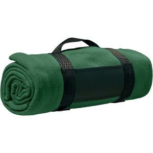 BARA fleecová deka, nylonový popruh, zelená
