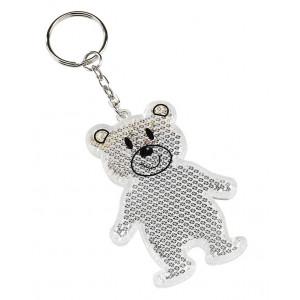 BOBO reflexný prívesok na kľúče, tvar medvedíka, biela