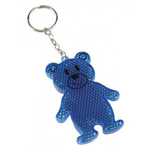 BOBO reflexný prívesok na kľúče, tvar medvedíka, modrá