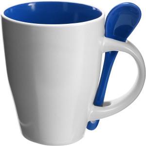 BRUNIT keramický hrnček s lyžičkou v ušku, biela/modrá