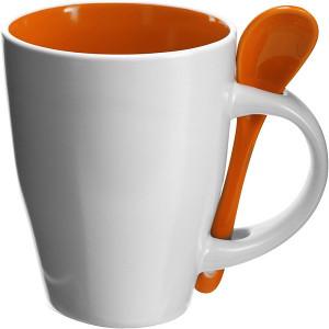 BRUNIT keramický hrnček s lyžičkou v ušku, biela/oranž.