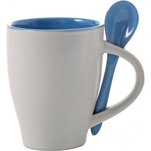 BRUNIT keramický hrnček s lyžičkou v ušku, biela/svetlo modrá