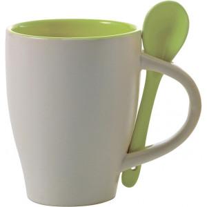 BRUNIT keramický hrnček s lyžičkou v ušku, biela/zelená