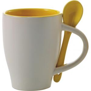 BRUNIT keramický hrnček s lyžičkou v ušku, biela/žltá