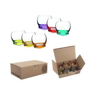 DILAM sada 6 pohárikov s guľatým farebným dnom, 60 ml
