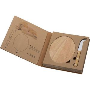 FINESTRA drevená doska na krájanie a nôž na syr v krabičke