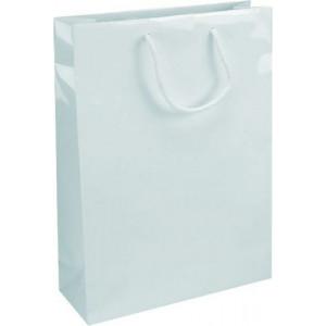 IVONE 24 lesklá biela papierová taška, 24x9x35 cm