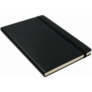 KALON zápisník A5, zatváranie na gumičku, čierna
