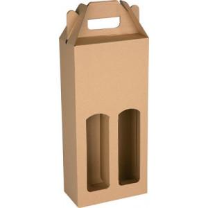 KLEROS kartónová krabica na 2 fľaše vína, hnedá