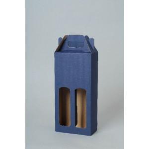 KLEROS kartónová krabica na 2 fľaše vína, modrá