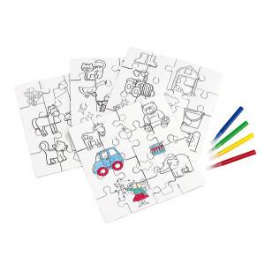 KRAJOLKA puzzle omaľovánka, pastelky 4 ks