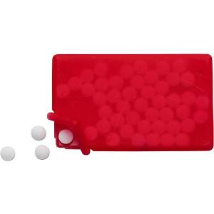 KREDITKA cukríky v krabičke, tvar kreditnej karty, červená