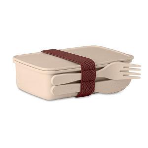 LANCHEDA Bambusový desiatový box s príborom, bežová