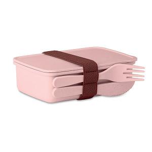 LANCHEDA Bambusový desiatový box s príborom, ružová