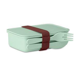 LANCHEDA Bambusový desiatový box s príborom, zelená