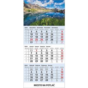 Nástenný kalendár TROJMES. ŠTANDARD S UNIVER.LAŠOU, modrý, 2019