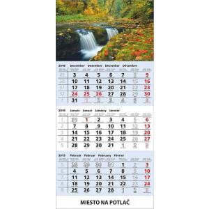 Nástenný kalendár TROJMES. ŠTANDARD S UNIVER.LAŠOU, modrý, 2020