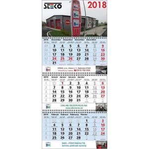 Nástenný kalendár TROJMESAČNÝ MAXI, modrý, 2020