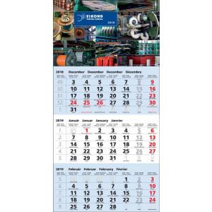 Nástenný kalendár TROJMESAČNÝ ŠTANDARD, modrý 2019