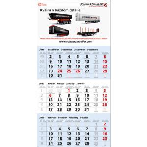 Nástenný kalendár TROJMESAČNÝ ŠTANDARD, modrý 2020