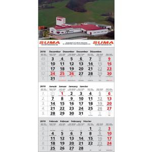 Nástenný kalendár TROJMESAČNÝ ŠTANDARD, sivý 2019