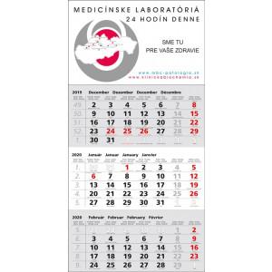 Nástenný kalendár TROJMESAČNÝ ŠTANDARD, sivý 2020