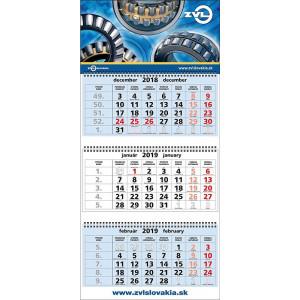 Nástenný kalendár TROJMESAČNÝ SUPER-MAXI, modré kalendár. 2020