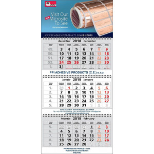 Nástenný kalendár TROJMESAČNÝ SUPER-MAXI, sivé kalendárium 2019
