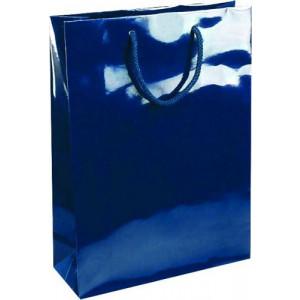 NATALY 24 lesklá modrá papierová taška, 24x9x35 cm