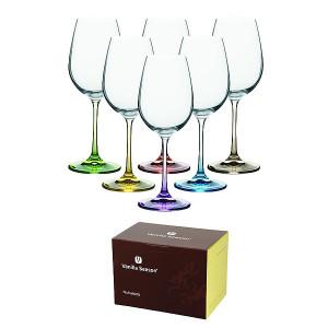 NUKUALOFA sada 6 pohárov na víno, farebné stopky značkyVanilla Season