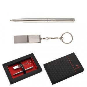PIERRE CARDIN GEORGINA sada USB 16 GB a kovové guličkové pero (modrá n.)