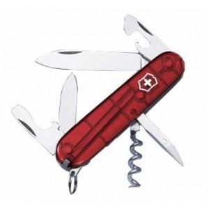 SPARŤAN vreckový nôž značkyVictorinox, 12 funkcií, trasnsparentná červená