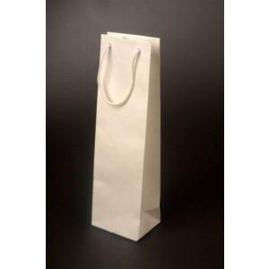 VINIE papierová taška na fľašu vína, bavlnené uši, biela