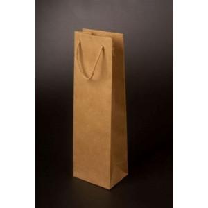 VINIE papierová taška na fľašu vína, bavlnené uši, hnedá