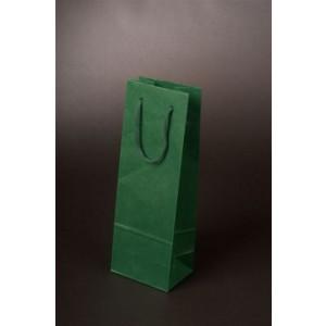 VINIE papierová taška na fľašu vína, bavlnené uši, zelená